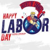 Счастливое знамя Дня Трудаа шаблон ресторана конструкции принципиальной схемы также вектор иллюстрации притяжки corel иллюстрация штока