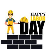 Счастливое знамя Дня Труда E Иллюстрация вектора - вектор бесплатная иллюстрация