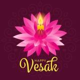 Счастливое знамя дня vesak с желтым светом свечи на розовом дизайне вектора лотоса иллюстрация вектора