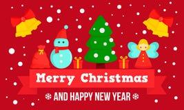 Счастливое знамя концепции веселого рождества, плоский стиль иллюстрация штока