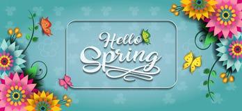 Счастливое знамя e бабочки весны Стоковое фото RF
