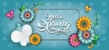 Счастливое знамя g бабочки весны Стоковые Изображения RF