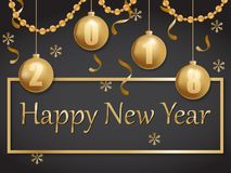 Счастливое золото 2018 и чернота Нового Года иллюстрация вектора
