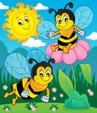 Счастливое изображение 2 темы пчел весны Стоковая Фотография
