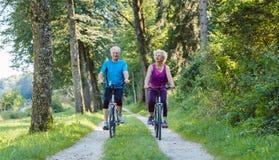 Счастливое и активное старшее катание пар bicycles outdoors в p Стоковая Фотография