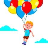 Счастливое летание мальчика ребенка в небе на векторе воздушных шаров иллюстрация бесплатная иллюстрация