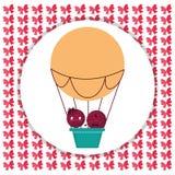 Счастливое летание пар в воздухе воздушного шара горячем бесплатная иллюстрация