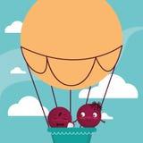 Счастливое летание пар в воздухе воздушного шара горячем иллюстрация вектора