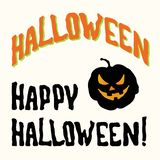 Счастливое название хеллоуина и пугающая тыква стороны стоковое фото rf