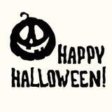 Счастливое название хеллоуина и фонарик тыквы на белизне стоковые фото