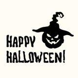 Счастливое название хеллоуина и фонарик тыквы шляпы ведьмы стоковая фотография