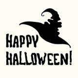 Счастливое название хеллоуина и шляпа ведьмы на белизне стоковое фото rf