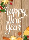 счастливое Новый Год Иллюстрация на деревянной предпосылке иллюстрация штока
