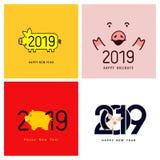счастливое Новый Год Комплект милой смешной свиньи Китайский символ 2019 год Превосходная праздничная карточка подарка для вашего иллюстрация штока