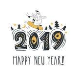 счастливое Новый Год Помечающ буквами фразу веселую и яркую Современная литерность для карточек, плакатов, футболок, etc С рукой  иллюстрация вектора