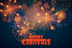 счастливое Новый Год рождество веселое xmas Открытка с праздничными фейерверками также вектор иллюстрации притяжки corel Стоковое Изображение RF