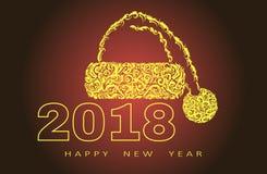 счастливое Новый Год 2018 шляпа santa, абстрактный дизайн, вектор, для знамен, рогульки плакатов иллюстрация штока