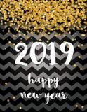 счастливое Новый Год Элегантная абстрактная новая карта вектора 2019 год с Confetti золота падая иллюстрация штока