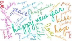 Счастливое облако слова Нового Года иллюстрация вектора