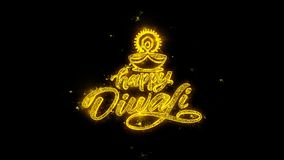 Счастливое оформление Diwali Diya написанное с золотыми фейерверками искр частиц
