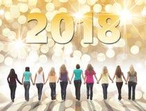 Счастливое приятельство 2018 Нового Года стоковая фотография rf