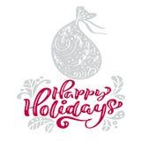 Счастливое рождество каллиграфии праздников помечая буквами текст Поздравительная открытка Xmas скандинавская с иллюстрацией вект иллюстрация штока