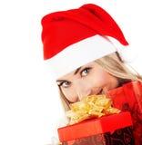 Счастливое Санта с настоящими моментами Стоковая Фотография
