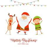 Счастливое Санта с эльфом и оленями рождества на белой предпосылке бесплатная иллюстрация