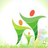 счастливое семьи зеленое Стоковые Фотографии RF