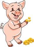 Счастливое смешное piggy с монетками бесплатная иллюстрация