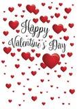 Счастливое сообщение дня ` s валентинки при красные в форме сердц воздушные шары плавая на белую предпосылку Стоковая Фотография RF