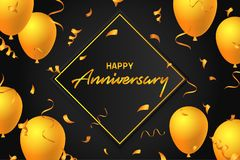 Счастливое торжество дня рождения шаблона дизайна плаката иллюстрации предпосылки знамени оформления воздушных шаров годовщины дл бесплатная иллюстрация