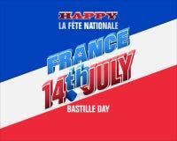 Счастливое торжество четырнадцатое -го июль, день Бастилии Стоковая Фотография