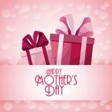 Счастливое украшение настоящих моментов подарочных коробок дня матерей Стоковые Изображения RF