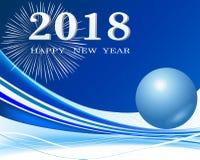 Счастливое украшение 2018 предпосылки Нового Года Стоковое Изображение
