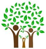 Счастливое фамильное дерев дерево на изолированный иллюстрация вектора