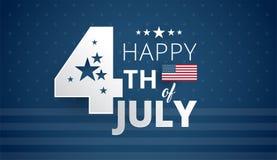 Счастливое 4-ый из Дня независимости США в июле - голубого вектора предпосылки стоковое изображение