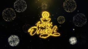 Счастливое Diwali Diya написанное частицы золота взрывая дисплей фейерверков
