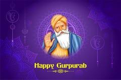 Счастливое Gurpurab, фестиваль Nanak Jayanti гуру сикхской предпосылки торжества бесплатная иллюстрация