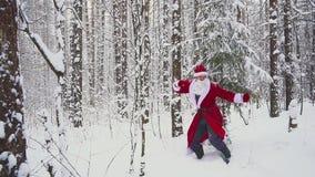Счастливое Santaklaus скачет, танцует и радуется в замедленном движении леса зимы сток-видео