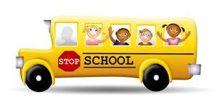 счастливое schoolbus малышей Стоковое фото RF