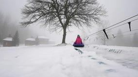 Счастливое snowtube езд девушки и mather на снежных дорогах видеоматериал