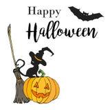 Счастливой иллюстрация хеллоуина нарисованная рукой в стиле шаржа Конструируйте для плаката или рогульки партии хеллоуина в стиле Стоковая Фотография RF