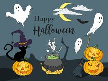 Счастливой иллюстрация хеллоуина нарисованная рукой в стиле шаржа Конструируйте для плаката или рогульки партии хеллоуина в стиле Стоковое Фото