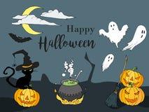 Счастливой иллюстрация хеллоуина нарисованная рукой в стиле шаржа Конструируйте для плаката или рогульки партии хеллоуина в стиле Стоковая Фотография