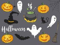 Счастливой комплект иллюстрации хеллоуина нарисованный рукой в стиле шаржа Элементы шаржа хеллоуина декоративные для дизайна плак Стоковые Фотографии RF
