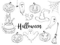Счастливой комплект иллюстрации хеллоуина нарисованный рукой в стиле эскиза Элементы doodle хеллоуина декоративные для дизайна пл Стоковое Изображение