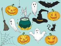 Счастливой комплект иллюстрации хеллоуина нарисованный рукой в стиле шаржа Элементы шаржа хеллоуина декоративные для дизайна плак Стоковые Изображения RF