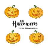 Счастливой комплект тыквы хеллоуина нарисованный рукой в стиле шаржа Элементы фонарика doodle хеллоуина декоративные для дизайна  Стоковое Фото