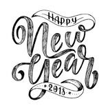 Счастливой литерность Нового Года нарисованная рукой для карточки Стоковые Фотографии RF
